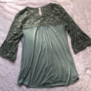 Mint lace boutique tunic top